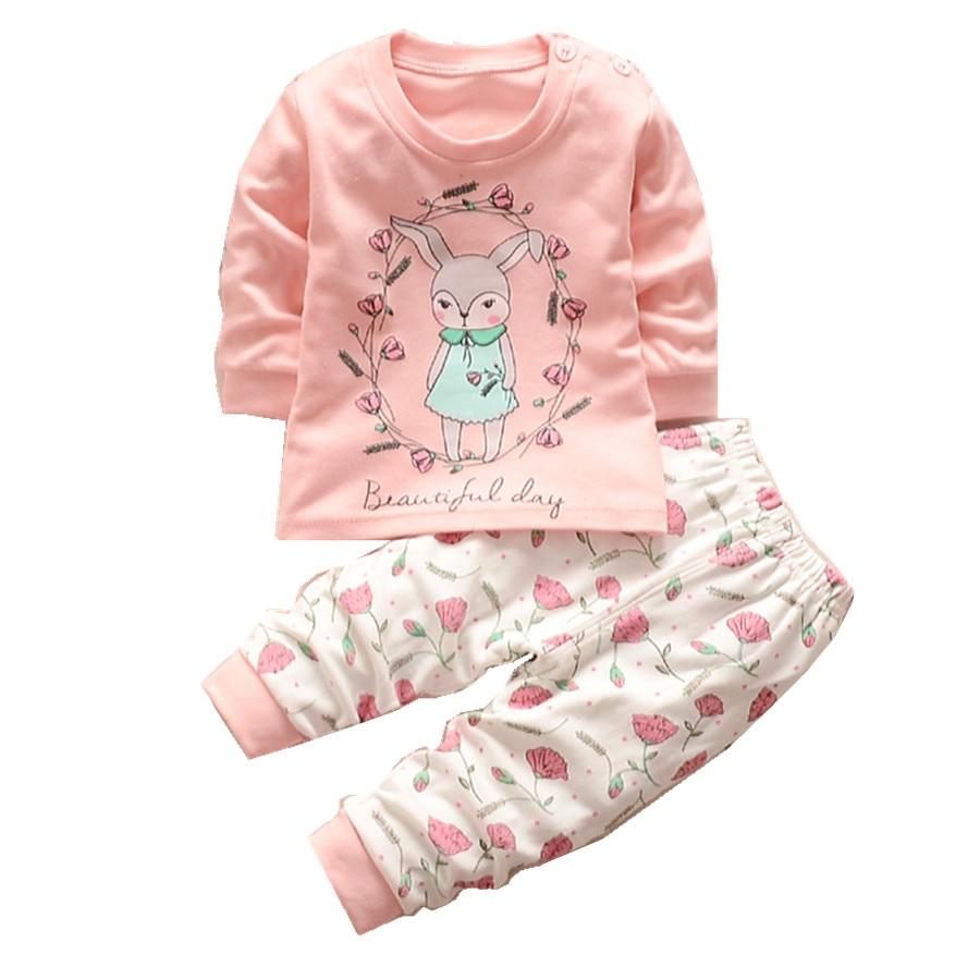 New baby girls clothes set long sleeve t shirt pant 2pcs for Newborn girl t shirts
