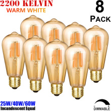 Medium Edison Screw ES E27 ST64 Clear Glass Teardrop Style 220V/230V/240V AC Nipple Tipped LED Filament Light Bulb 4W 6W 8W Lamp