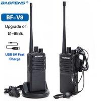 2 шт. Baofeng BF-V9 мини-рация 5 в USB быстрая зарядка 5 Вт UHF 400-470 МГц Ham CB переносной радиоприемник Woki Toki BF-888S bf888s