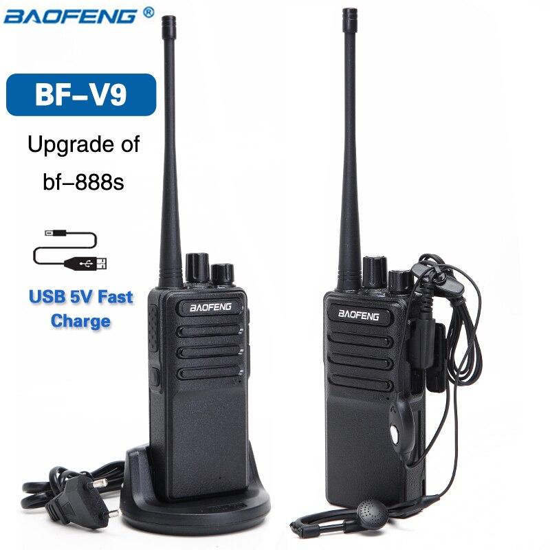 2 pcs 2018 Baofeng BF-V9 USB 5 v Rapide Charge Talkie Walkie 5 w UHF 400-470 mhz Jambon CB Portable Radios Radio Ensemble de Mise À Niveau de BF-888S