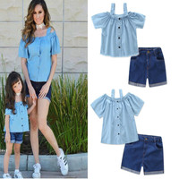 Mother Daughter Family Matching Outfits T Shirt Denim Shorts 2017 Fashion Mommy And Me Family Clothing