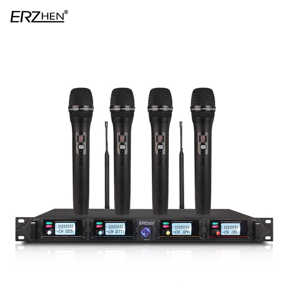 4 canaux Sans Fil système de microphone 8000G professionnel UHF canaux dynamique microphone professionnel 4 karaoké microphone