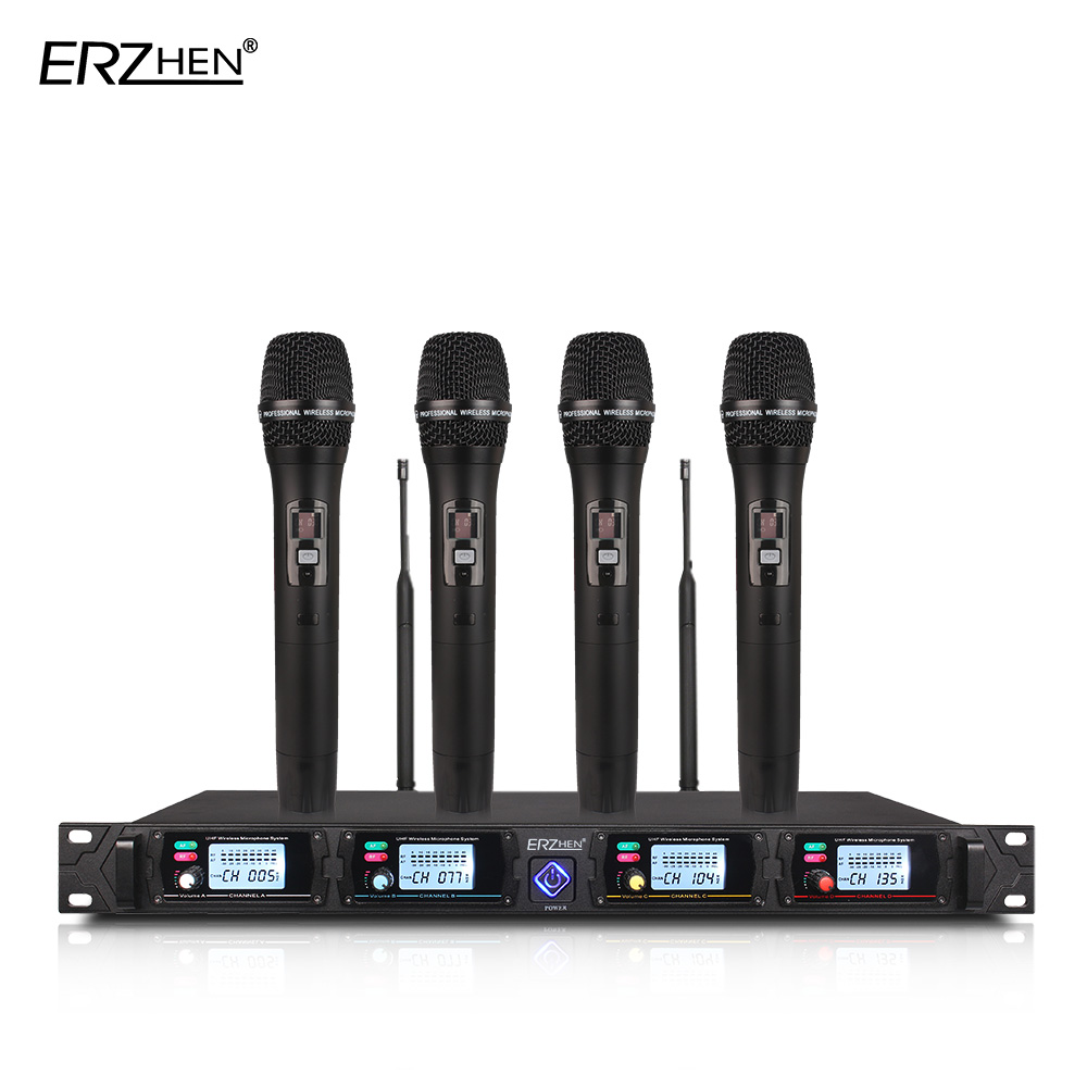 4 channel Wireless microphone system 8000G professional UHF channels dynamic microphone professional 4 karaoke microphone boya by whm8 professional 48 uhf microphone dual channels wireless handheld mic system lcd display for karaoke party liveshow
