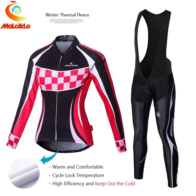 Malciklo 2016 Winter Fleece Cycling Jersey Women s Long Sleeve Bicycle Cycling Clothing Bike Wear Maillot