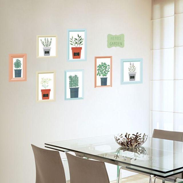 Baru Lucu Kecil Hijau Pot Wallpaper Tanaman Bunga Dekoratif Dinding Stiker Rumah Dekor Dapur Living Room