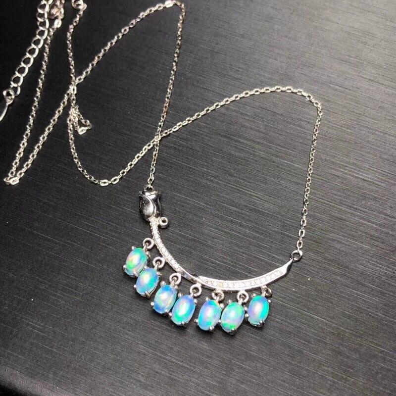 Uloveido Natürliche Feuer Opal Halskette für Frauen, 925 Sterling Silber, 4*6mm * 7 Pcs Hochzeit Edelstein Farbwechsel Schmuck FN160-in Halsketten aus Schmuck und Accessoires bei  Gruppe 1