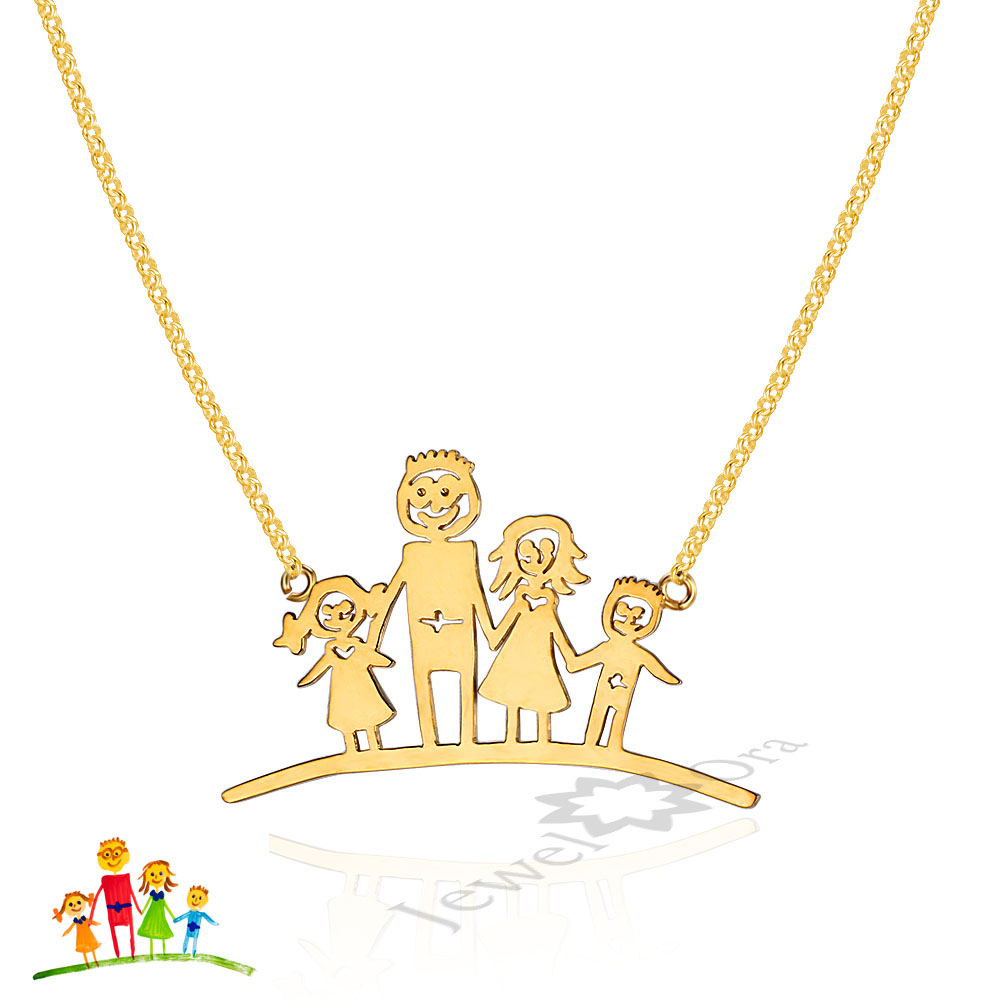 Unique DIY Thanksgiving Gifts Personalized Family Children Mother Necklace 925 Sterling Silver Loving Family Drawing Pendants champ champ 20043 4
