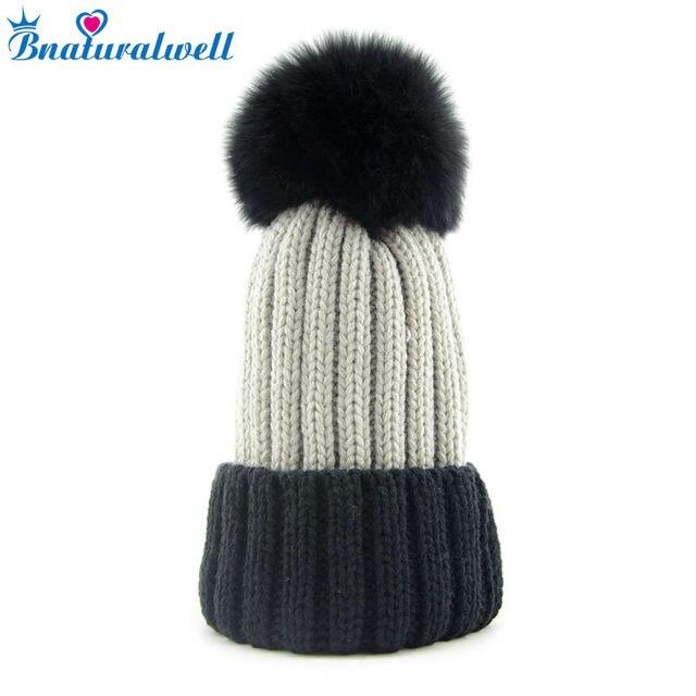 4f71989be61 Bnaturalwell Fox Fur Hats Pompoms Ball Handcraft Wintter Soft Hats Children new  winter cap Custom for Kids Genuine Furry H009K