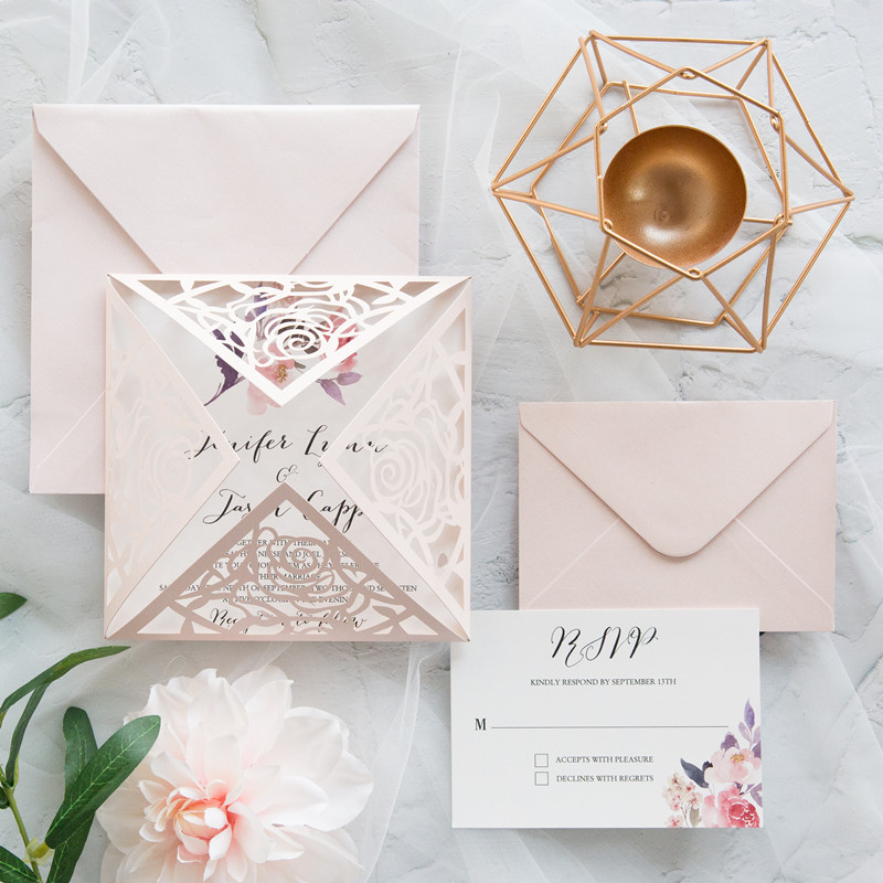 Swooping Stem Blush Laser Cut Fold With Single Stem Floral Accent On Invitation