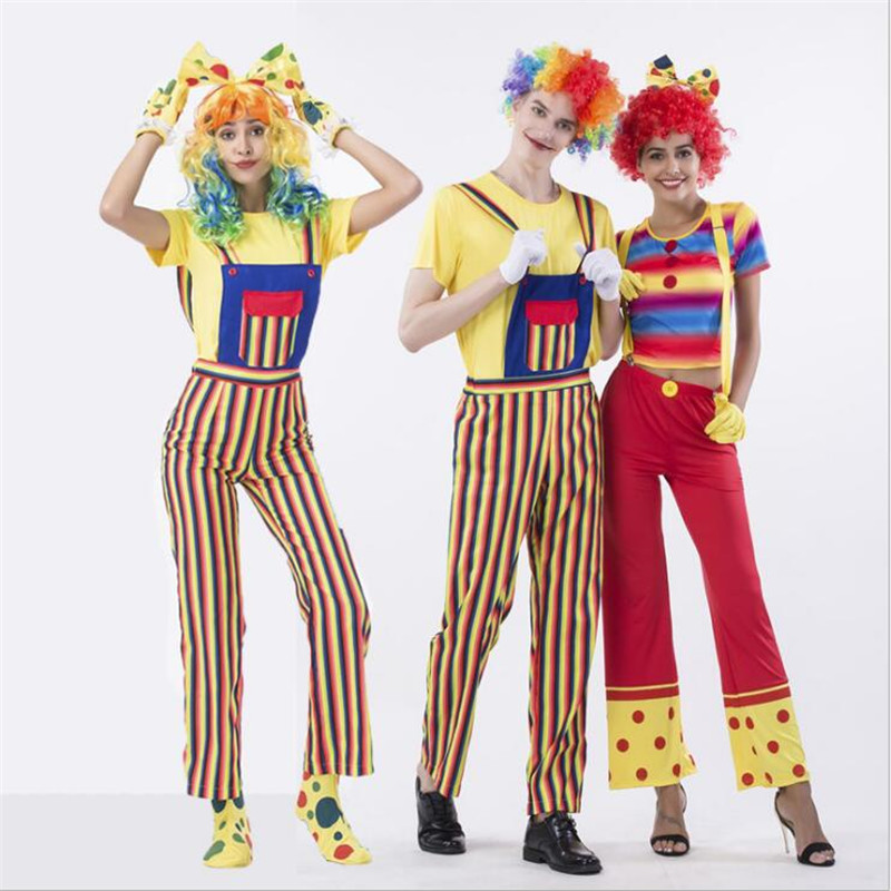 Circus clown Cosplay Costume Dress Adult Boys and Girls Halloween Blame Free Shipping