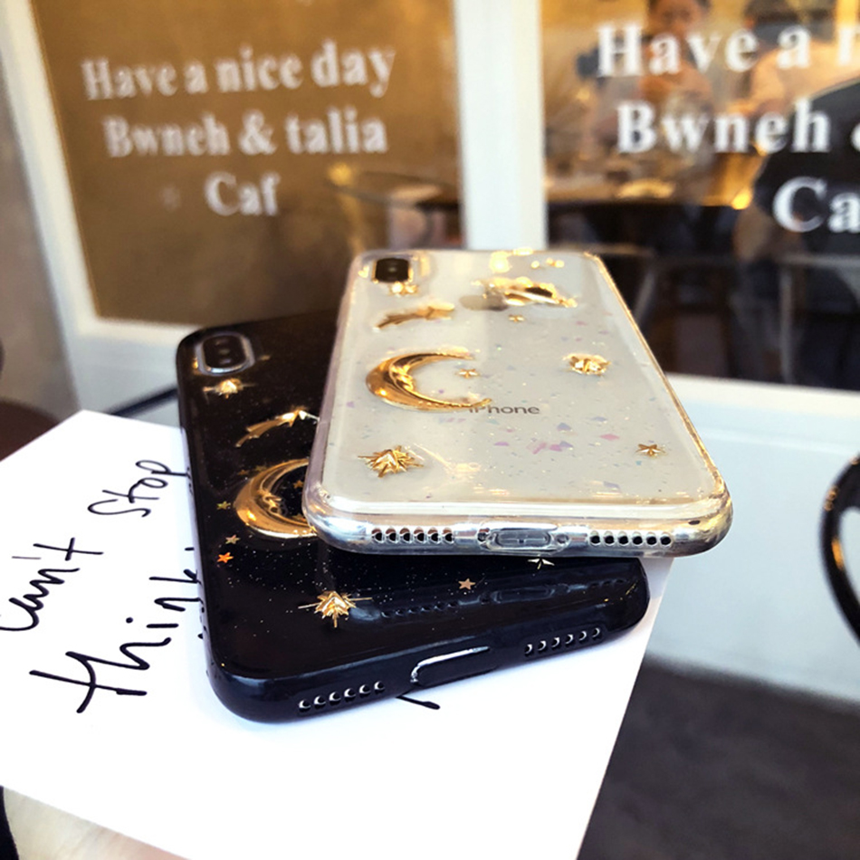 Digital Flash Powder Case For iPhone X XS XR XSMAX Gold Planet Back Cover TPU Case For iPhone 7 8 6 6S Plus Anti Fall Soft Case in Fitted Cases from Cellphones Telecommunications