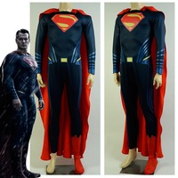 Adult Batman v Superman Dawn of Justice Cosplay Costume Clark Jumpsuit Costume Cloak With Shoes Halloween Cosplay Costumes
