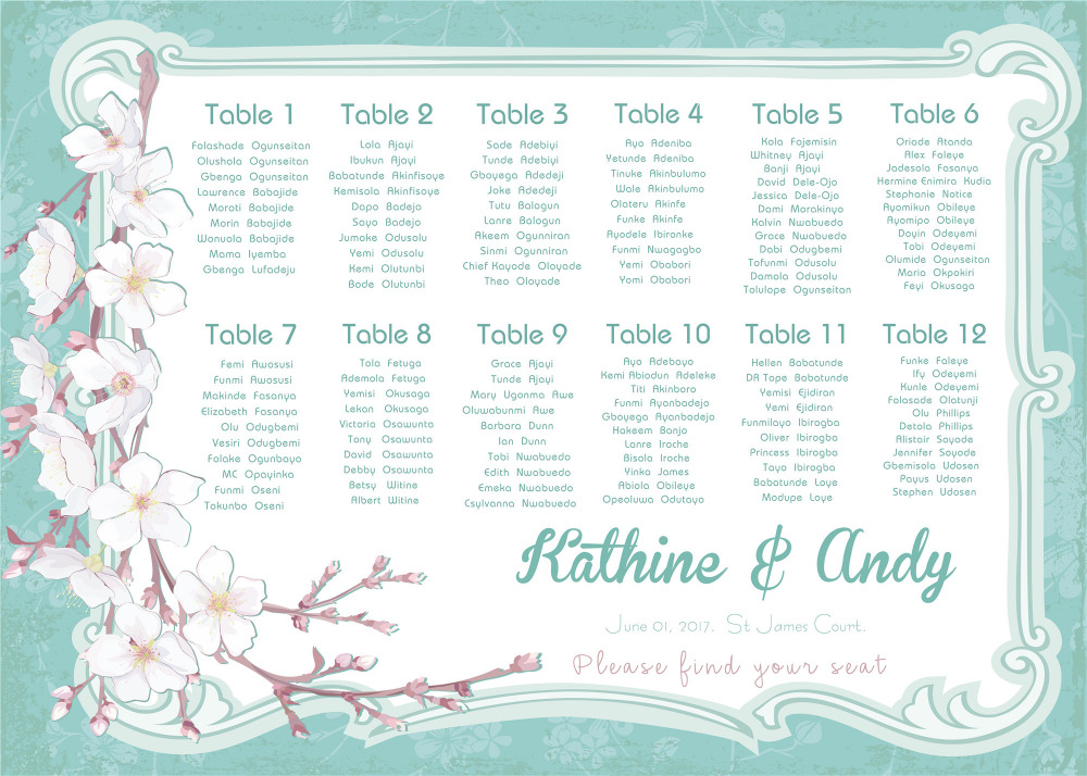photograph regarding Printable Wedding Seating Chart identify US $15.0 The exceptional printable wedding ceremony seating application electronic document offered simply just can be birthday or christams get together sakura-inside Occasion Do-it-yourself Decorations towards