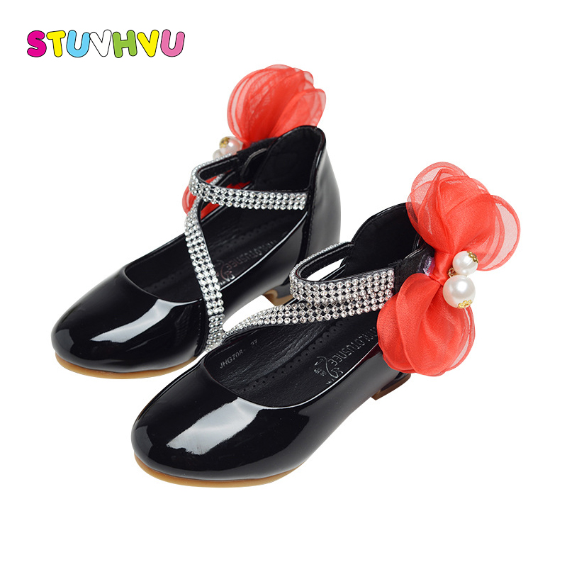 Girls shoes for wedding kids princess shoes children leather high heel 3-12 years old fashion lace bow girl shoes black pink