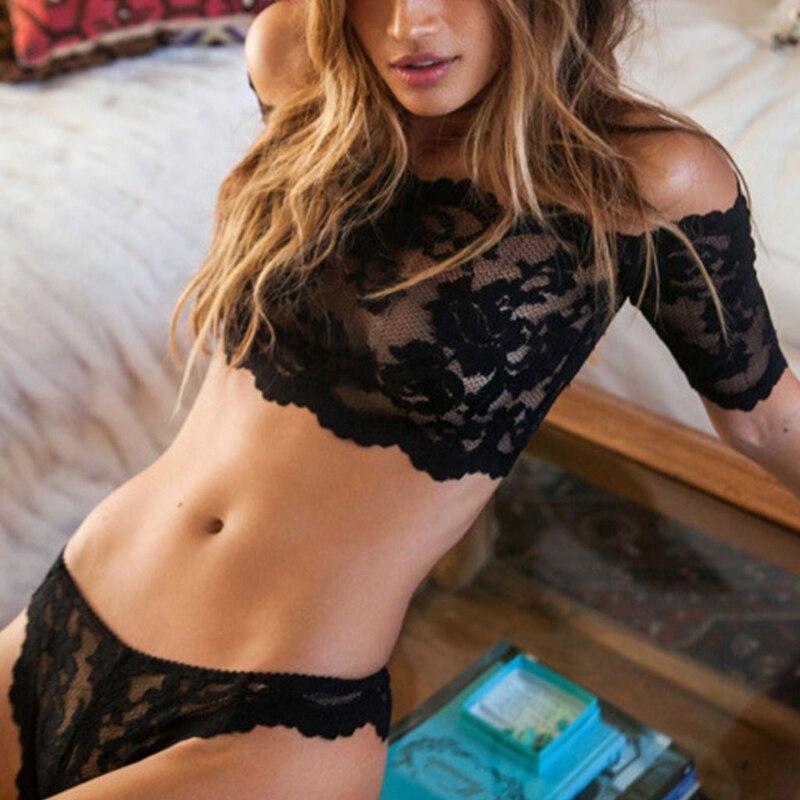 Women Thin Floral Lace   Bra     Set   Transparent Sexy Lingerie Off Shoulder Tops Panty