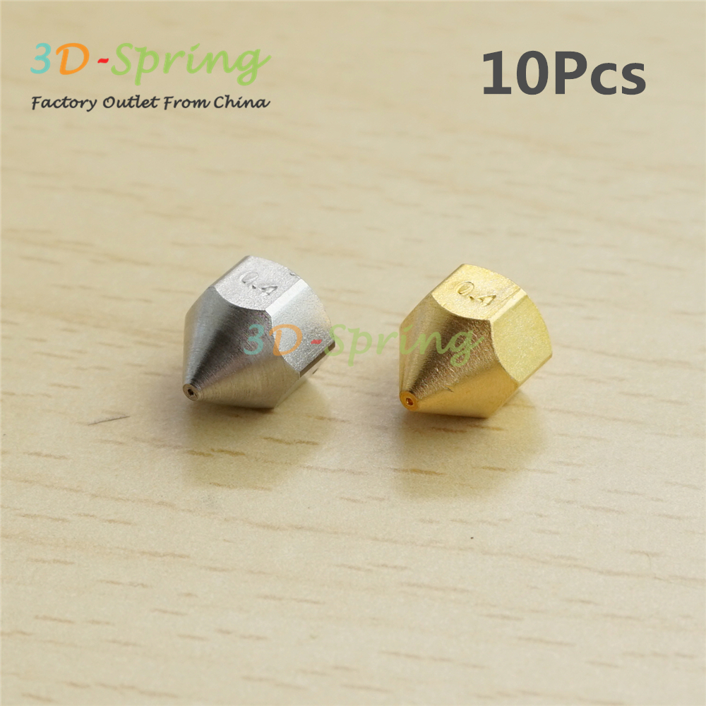 10Pcs 3D Printer Blantyre era Nozzle 0.4mm For Bore 4.1mm Screw thread M6 Brass / Stainless steel Print Head High Quality
