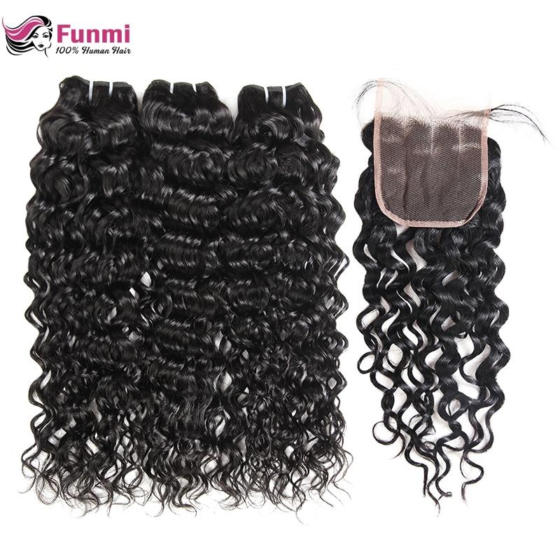 Funmi Hair Water Wave Bundles With Closure Brazilian Hair Weave Bundles With Closure Virgin Human Hair 3 Bundles With Closure
