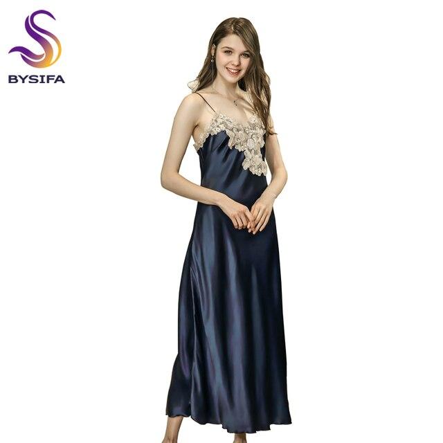 d294d9ba2c Navy Blue Silk Women Nightgown Summer Lace Embroidery Sexy Long Dress  Sleepwear Ladies Bow Lounge Night Dress Khaki