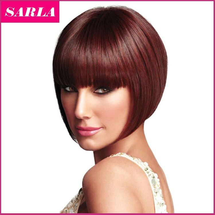 1PC Women Short Bobo Wigs European Straight Synthetic Kanekalon Hair Wig Heat Resistant Afro Natural U Part