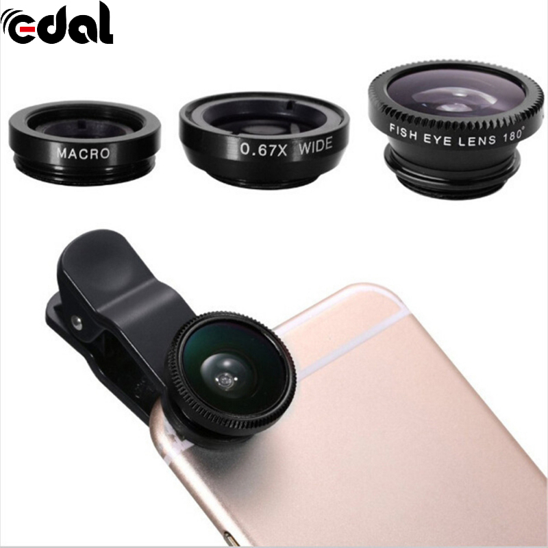 Mini Clip-on Cell Phone Camera Lens Kit Fish Eye Lens + 0.67 X Wide Angle + Macro Lens For Smart Phones image