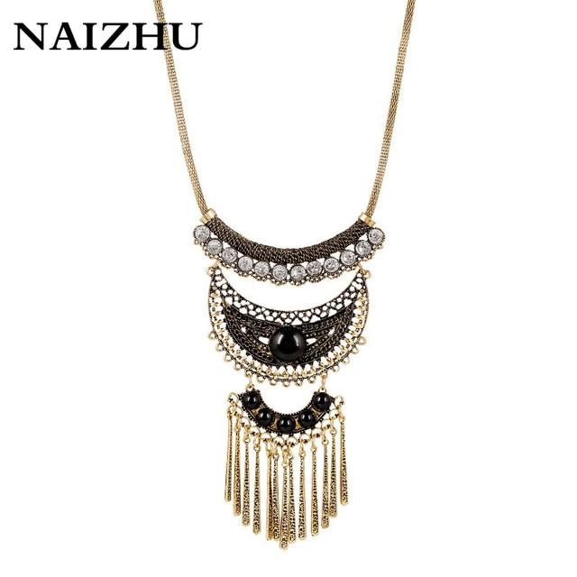 New Fashion Vintage Retro Necklaces   Pendants Gold Color Crystal chokers  Statement tassel Necklaces Multi-layers boho Jewelry bb0b75801de8