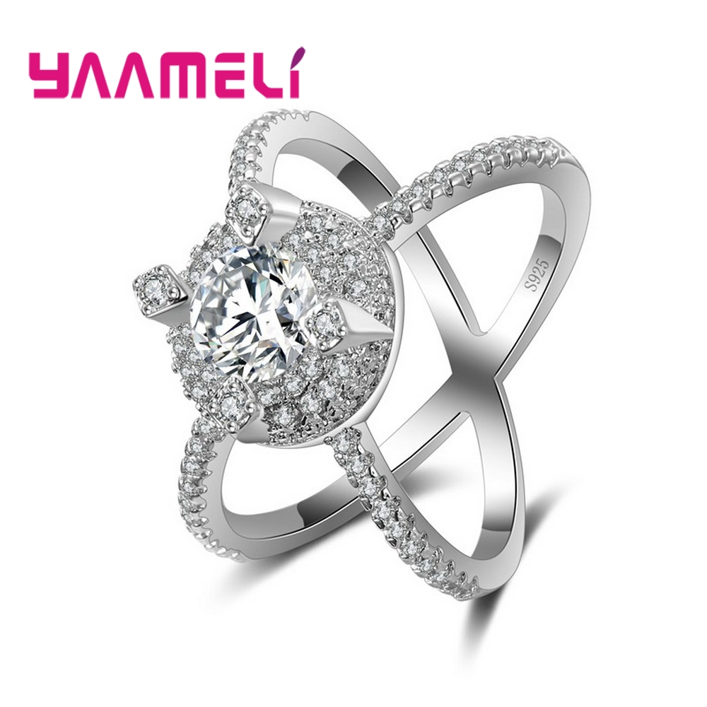 YAAMELI Trendy Women Wedding Anillos Wholesale Cross Finger Ring 925 Sterling Silver CZ Fashion Crystal Rings For Female Gifts