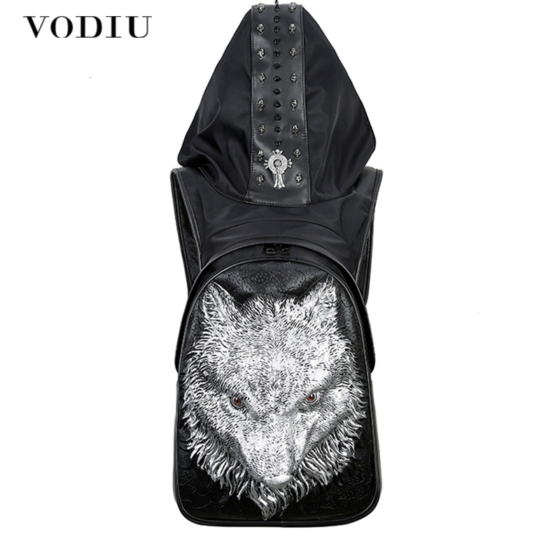 Big Laptop Backpack Leather School Backpack Men 3D Printing Unique Men&#39s Bag Rivet Rucksack Male Mochila Teens Sac A Dos swisswin black business backpack male swiss military 15 6 computer bag mochila masculino orthopedic backpack sac a dos sw6007v