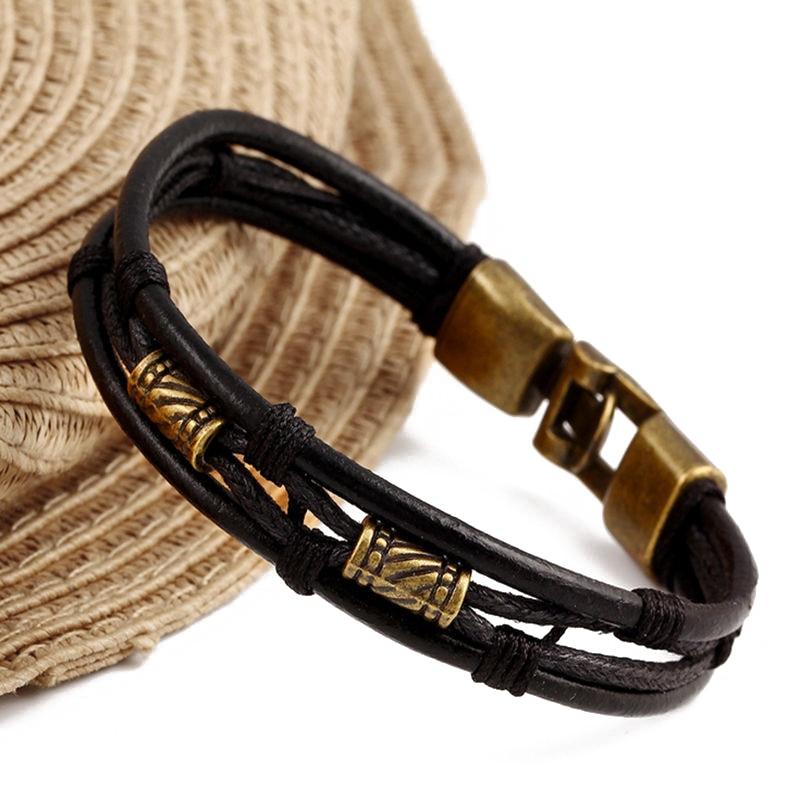 Stainless Steel Bangle Bracelet Fashion Men Genuine Leather Braided Wristband Vintage Punk Charm Bracelet Cuff Pulseras Hombre