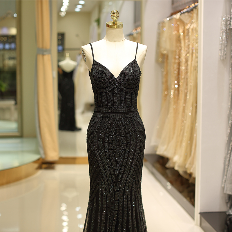 2019 Sexy Deep V-Neck Diamonds Trim Long Gold Black Formal Evening Gown Robes De Soiree Prom Dress Evening Dresses Mermaid Style 2