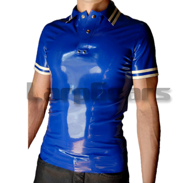 New Dark blue with white Latex Men s Polo Shirt Short Sleeves Latex Rubber Tee Plus