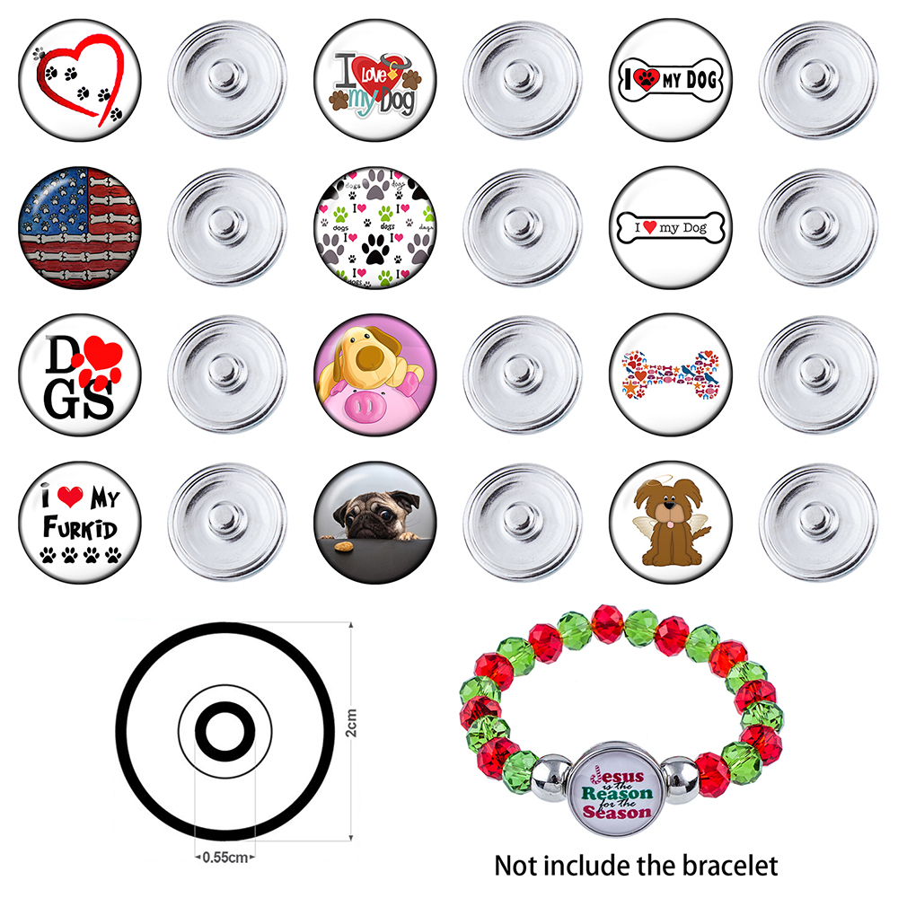 PT900041 20mm 12 Pcs Snap On Charms for Bracelet Necklace Hot Sale DIY Findings Glass Snap Button Dog Design