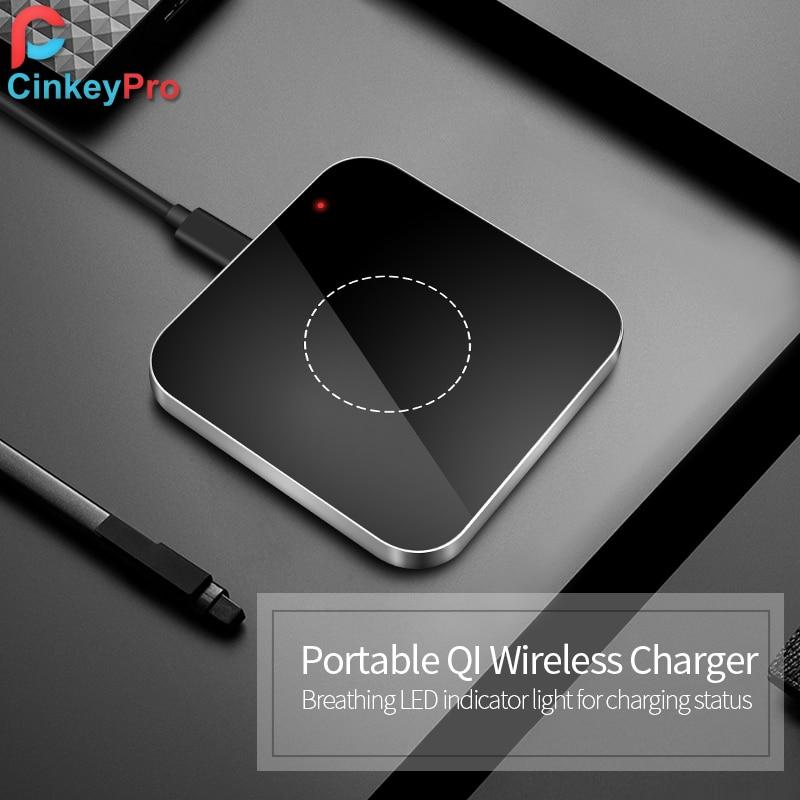 bilder für CinkeyPro QI Wireless-ladegerät Lade-Pad 5 V/1A Aluminium & Acryl für Samsung Galaxy S6 S7 S8 Note 5 kanten Nexus 4/5