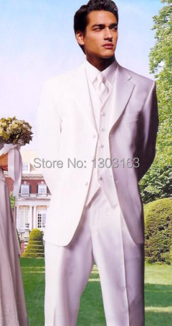 Tuxedos Wedding-Suits Groom Notch Custom-Made White Jacketpantsvesttie Lapel Three-Buttons