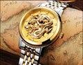 ESOPO relógio de ouro dos homens de esqueleto de aço Inoxidável mecânico Automático de luxo vidro de Safira à prova d' água assista relogio masculino