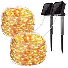 лучшая цена LED Outdoor Solar Lamp String Lights 100/200 LEDs Fairy Holiday Christmas Party Garland Solar Garden Waterproof 10m