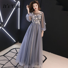 Это YiiYa вечернее платье с полной аппликацией, бисером, цветами, красивые официальные платья, синие, серые, Длинные вечерние платья с рукавами-фонариками, E064