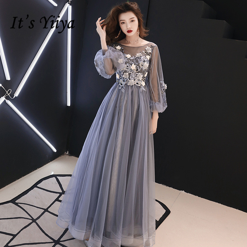 It's YiiYa   Evening     Dress   Full Appliques Beading Flowers Beautiful Formal   Dresses   Blue Gray Lantern Sleeve Long Party Gown E064