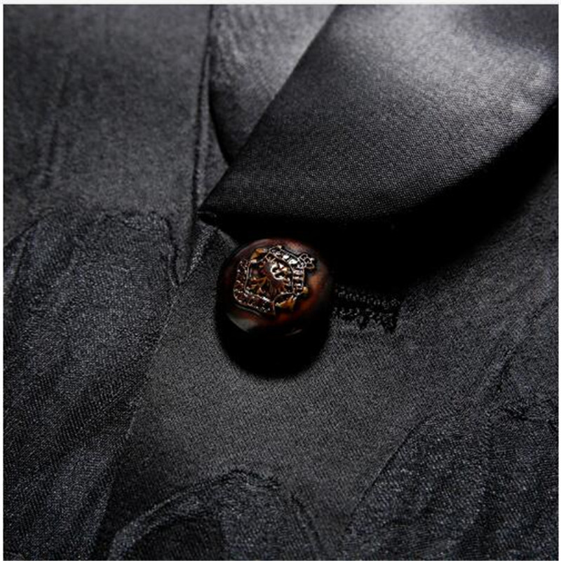 2018 Fashion Mens Printed Blazers Casual Slim Fit Prom Dress Blazer Men Black Floral Stage Wear Blazers Jacket for Men DT313 - 4