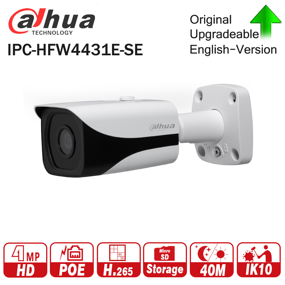 Dahua IPC-HFW4431E-SE 4MP WDR IR Mini Bullet Network IP Camera 4K Smart Detect 40m IR Support Micro SD Card H.265 WDR IP67 PoE free shipping dahua security outdoor camera 2mp wdr ir mini bullet network camera ip67 with poe without logo ipc hfw4231e se