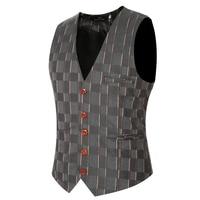 Cowboy Bruiloft Pak Vesten 2017 Mens Fashion Zwart Grijs Prom Plaid Vest Plus Size Mouwloze Jas Lesuire Taille Jas Z20