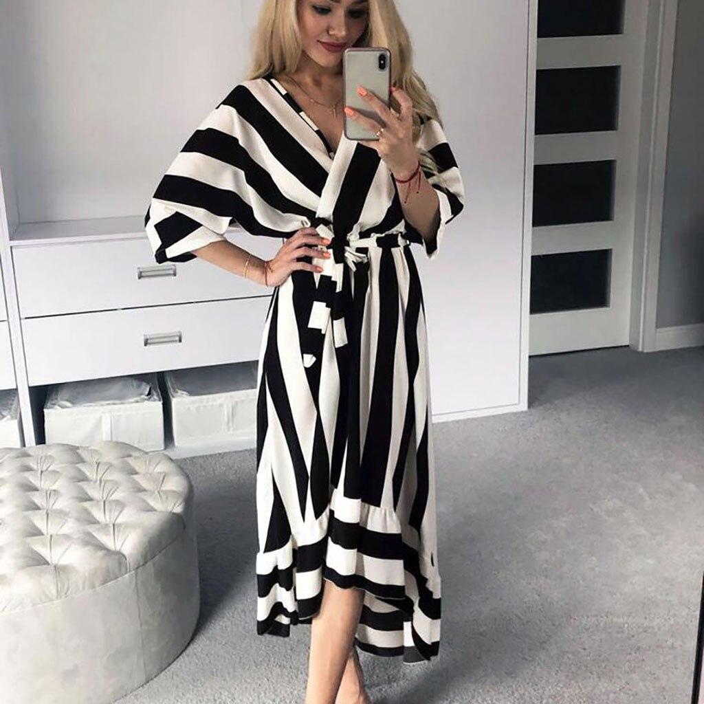 Women's Dress Summer Fashion Asymmetrical Casual Striped V Collar Sashes Half Sleeve Mid Calf Vestidos Daily Stroll OY41*