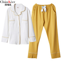 QWEEK Women Sleepwear Cotton Fashion Women Pajamas Long Sleeve Pyjamas Women Autumn Female Suit Yellow Pants Home Wear Casual