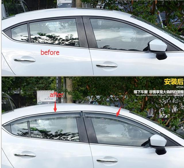 Para Mazda 3 AXELA M3 2014 Sedan Ventana Toldos Viseras Deflector de Viento Lluvia Visera Guardia Vent