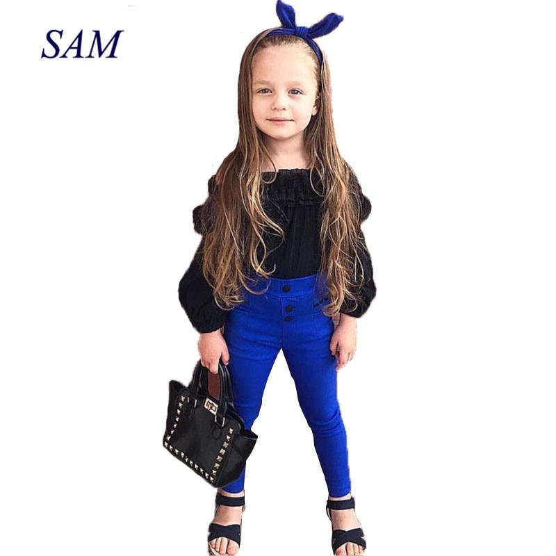 2018 New Fashion Childrens Fashion Clothing Sets Girls Off Shoulder Ruffles Tops T-shirt +High Waist Solid Long Pants Clothes
