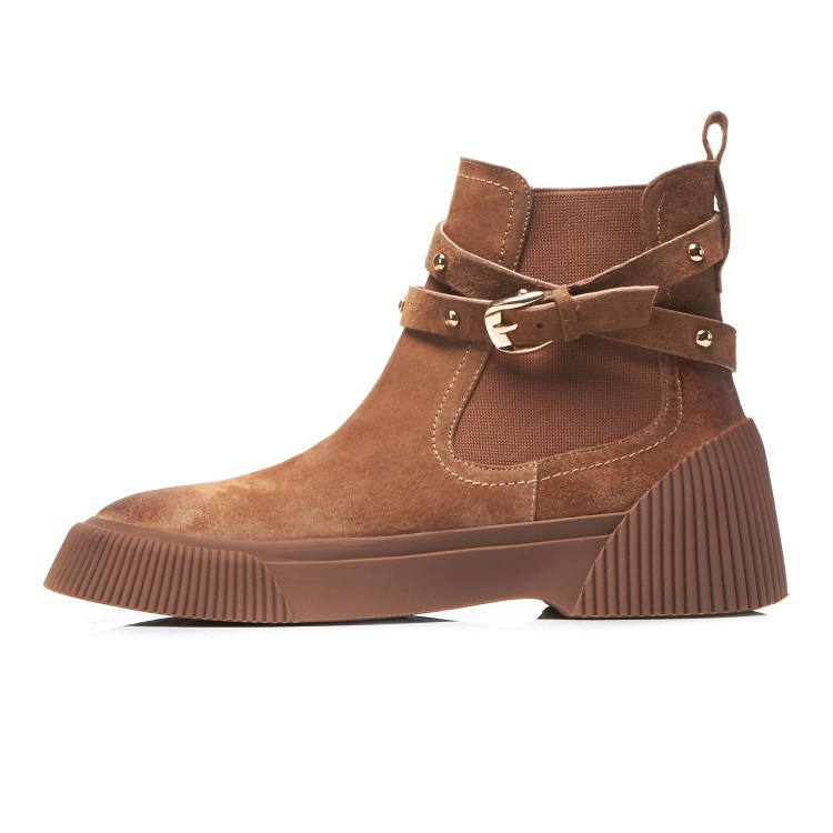 MLJUESE 2019 women ankle boots Pigskin brown color retro winter short plush pointed toe platform flat women Chelsea boots - 6