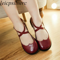 Women Pumps Shoes Pu Buckle Lolita Sweet Casual Party Shoe 2019 Spring Autumn Sexy New Fashion Square Heel Red Beige Black Brown