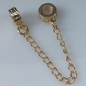 Аутентичные 925 стерлингового серебра и золота безопасный цепь бусины для браслета Европейский Стиль Женщины Ювелирные изделия Бесплатная ...