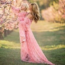 Le Couple Stretchy Lace Maternity Dresses Ruffles High Split Front Maternity Photography Gown Slash Neck Maxi Pregnancy Dress