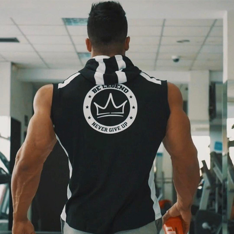 Mens Spring summer Bodybuilding sleeveless Hoodie Gyms Fitness cotton Sweatshirt male Casual slim Sportswear Hooded vest clothes