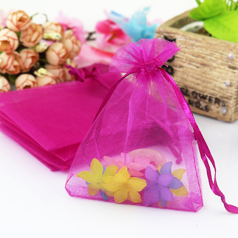 Hot Sale 100pcs/lot Hot Pink Organza Bag 7x9cm Small Wedding Gift Bag Pouches Drawable Earrings Charms Jewelry Packaging Bags